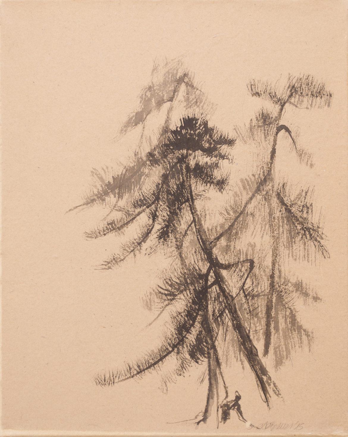 Alberi nella bruma 1 china e mallo su carta bambu' 40x50cm 201672 dpi