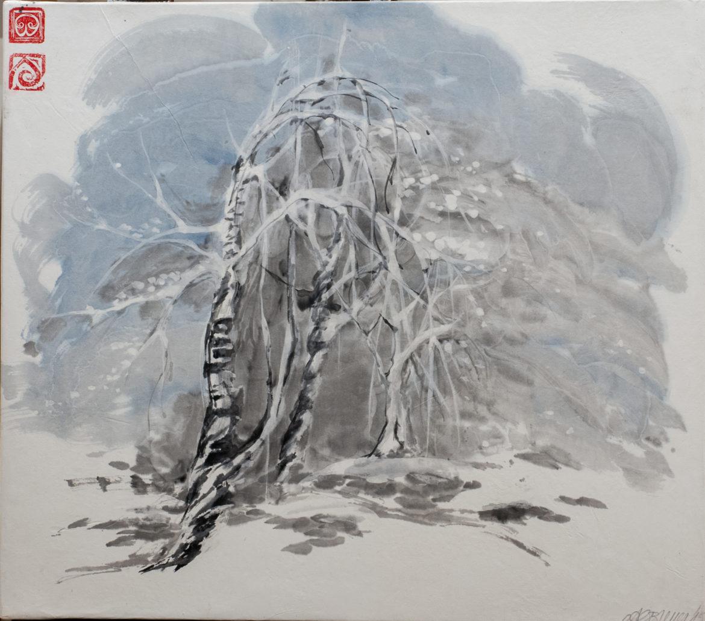 Betulle nella neve china e acquarello su carta di riso 42x48cm 2015 _72 dpi