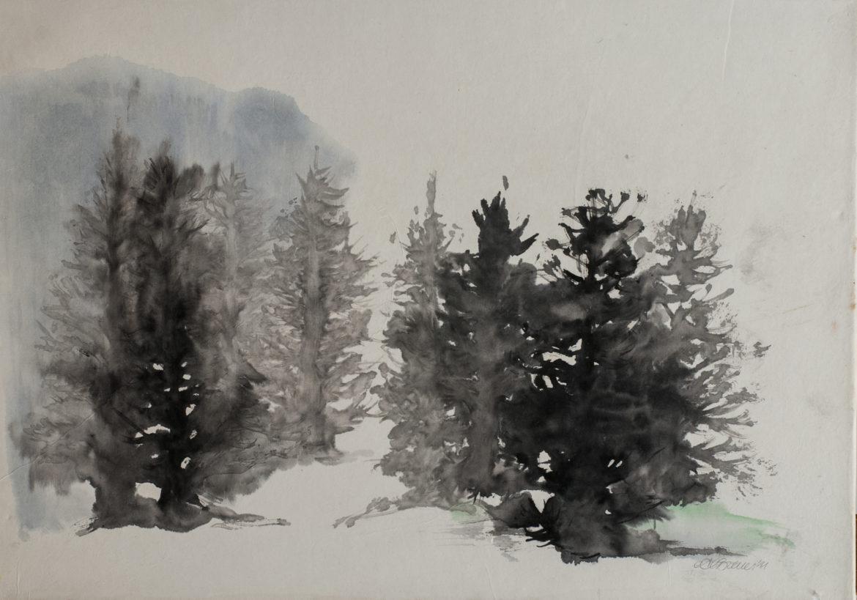 Bosco nella nebbia china e acquerello su carta di riso 34x48 2011 _72 dpi
