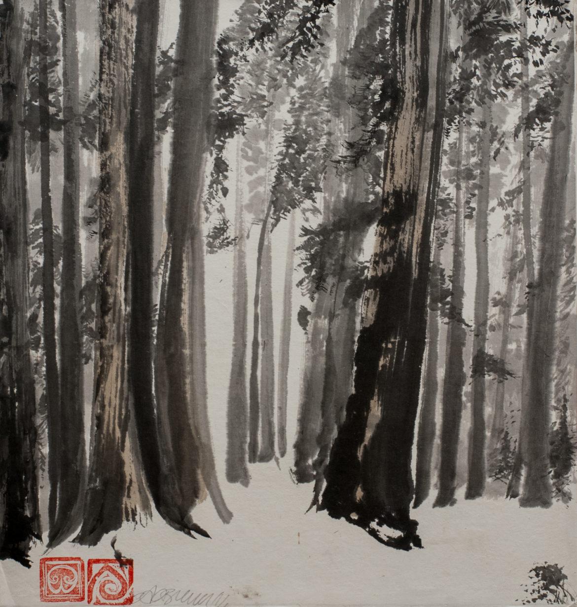 Sequoie china e mallo su carta di riso 32x34cm 2014 _72 dpi